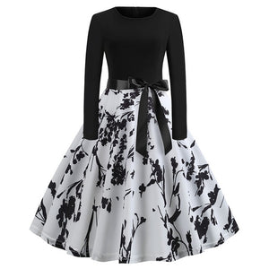 b4d49644351c6 Winter Christmas Dresses Women 50S 60S Vintage Robe Swing Pinup Elegant  Party Dress Long Sleeve Casual