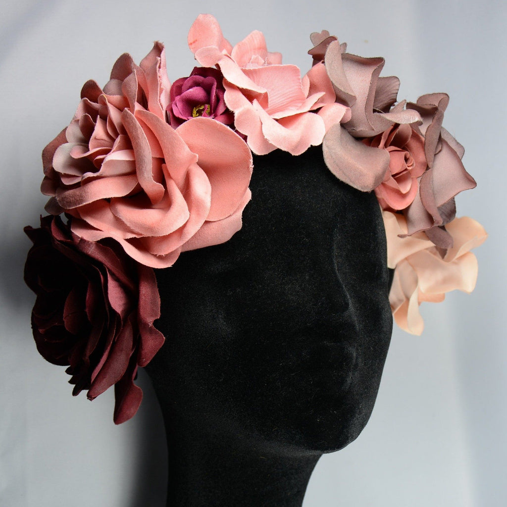 Flower headpiece, Dusty rose
