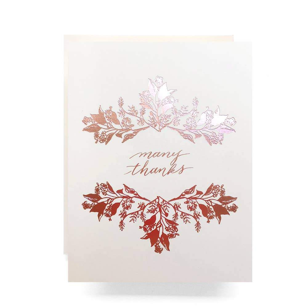 ANTIQUARIA ROSEGOLD BOTANICAL MANY THANKS CARD - LOCAL FIXTURE