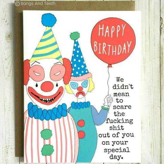 CREEPY CLOWNS BIRTHDAY CARD - LOCAL FIXTURE