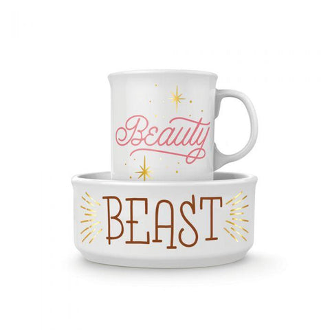 FRED & FRIENDS CERAMIC MUG AND DOG BOWL SET - BEAUTY & BEAST - LOCAL FIXTURE