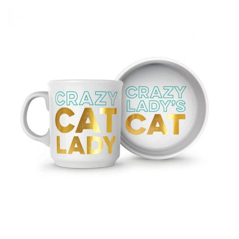 FRED & FRIENDS CRAZY CAT LADY MUG & BOWL SET - LOCAL FIXTURE