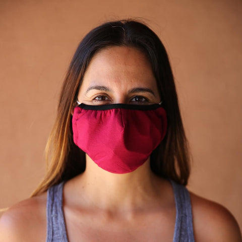 Reusable & Washable 3-ply Cotton Face Mask with built-in filter - Maroon - LOCAL FIXTURE