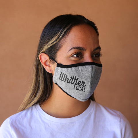 Whittier Local Original Logo Reusable & Washable 3-ply Cotton Face Mask with built-in filter - GREY - LOCAL FIXTURE