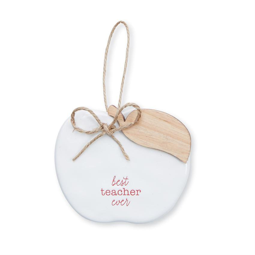 MUD PIE BEST TEACHER CERAMIC ORNAMENT - LOCAL FIXTURE