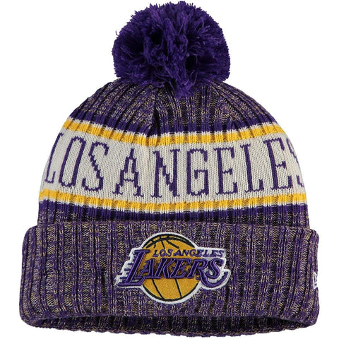New Era Purple Los Angeles Lakers Sport Cuffed Knit Hat with Pom - LOCAL FIXTURE