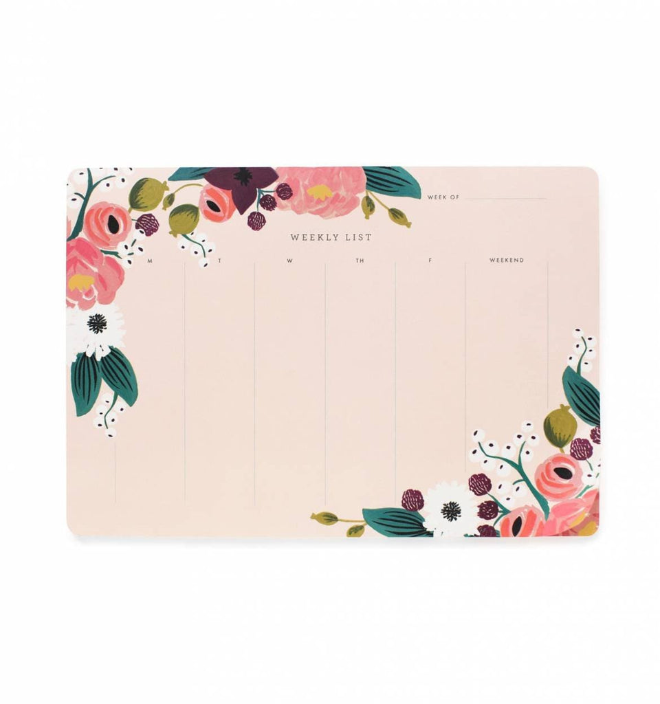 RIFLE PAPER CO. PINK FLORAL WEEKLY DESK PAD - LOCAL FIXTURE