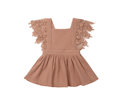 Giselle Tie Back Dress in Apricot - LOCAL FIXTURE