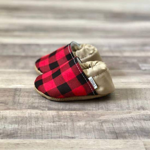 Buffalo Plaid And Tan Baby Moccasins - LOCAL FIXTURE