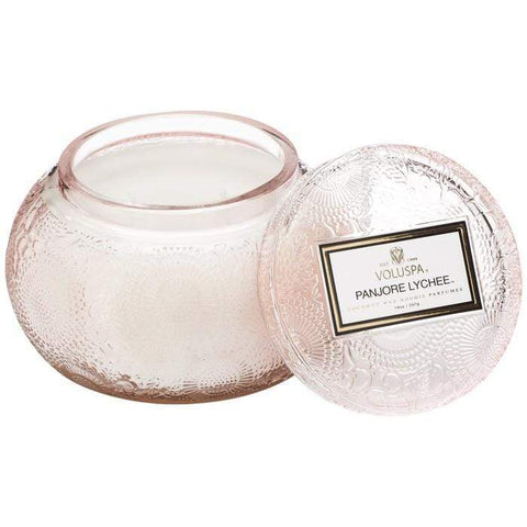 VOLUSPA EMBOSSED GLASS CHAWAN BOWL CANDLE - PANJORE LYCHEE - LOCAL FIXTURE