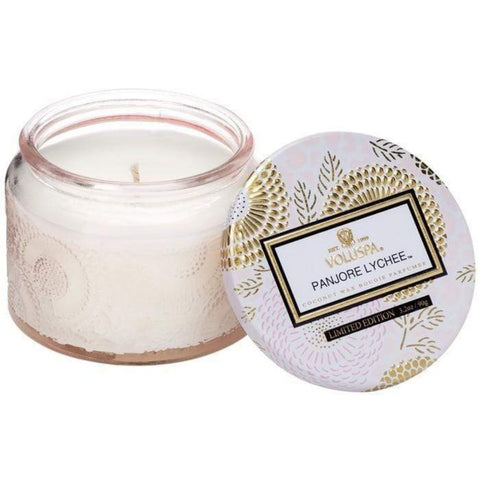 VOLUSPA PETITE EMBOSSED GLASS JAR CANDLE - PANJORE LYCHEE - LOCAL FIXTURE