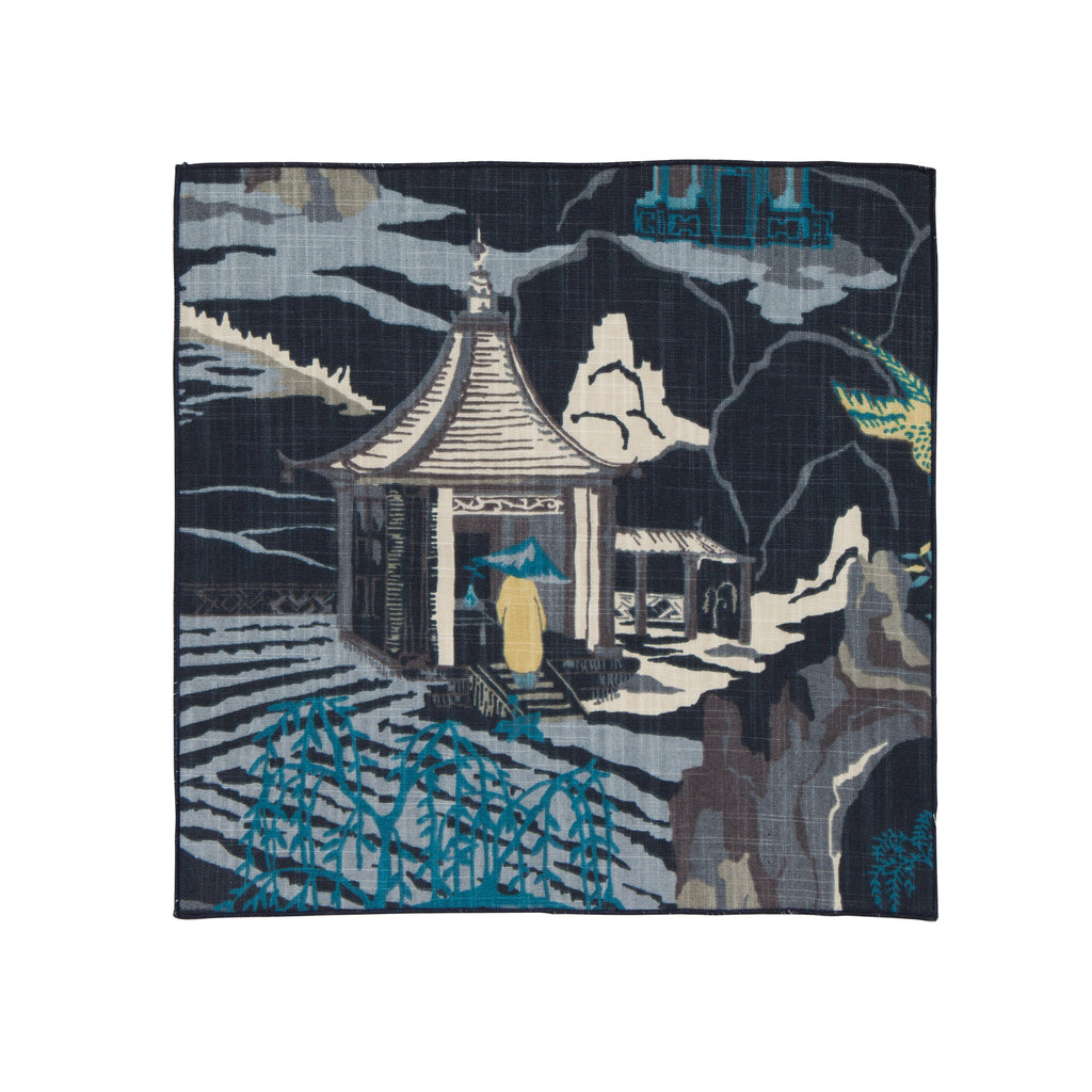 MING TOILE POCKET SQUARE: NAVY