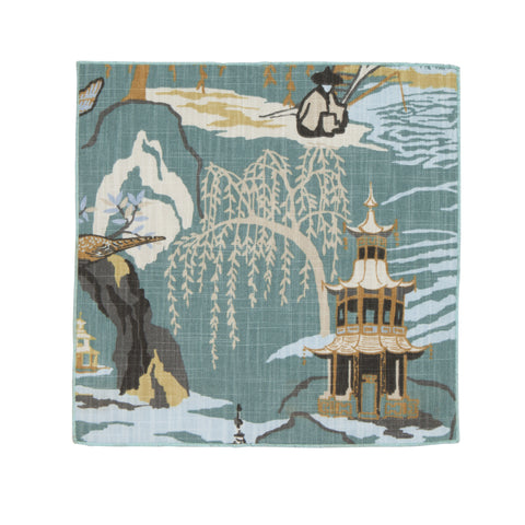 MING TOILE POCKET SQUARE: LIGHT BLUE