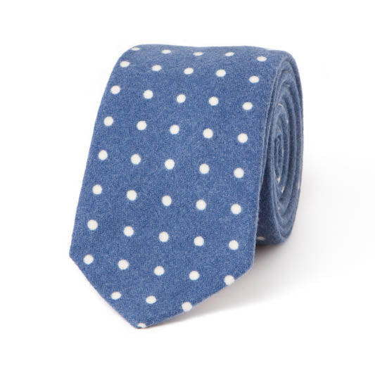 Necktie: Flannel Dots in  Blue