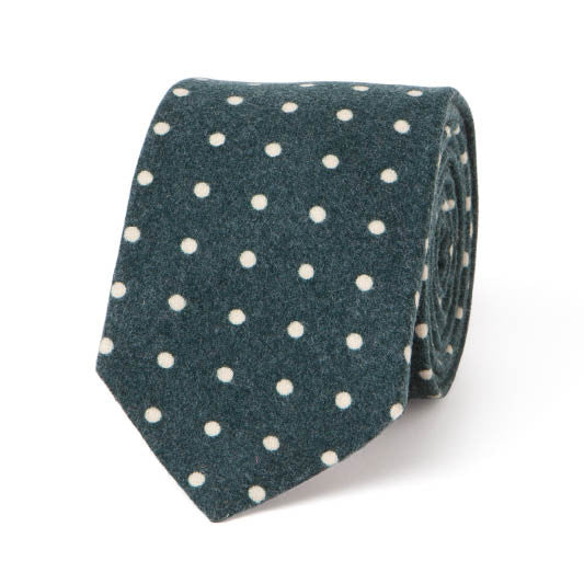Necktie: Flannel Dots in Green