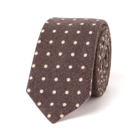 Necktie: Flannel Dots in  Brown