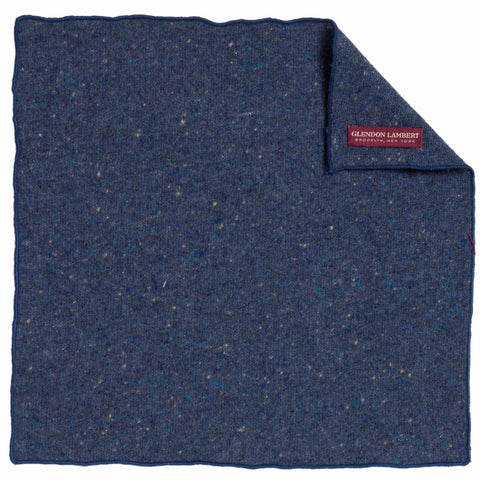 BRIGHT LIGHTS FLECKED WOOL POCKET SQUARE: BLUE