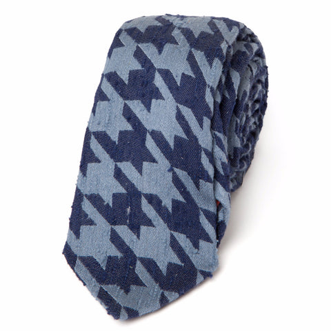 RAW SILK HOUNDSTOOTH: BLUE