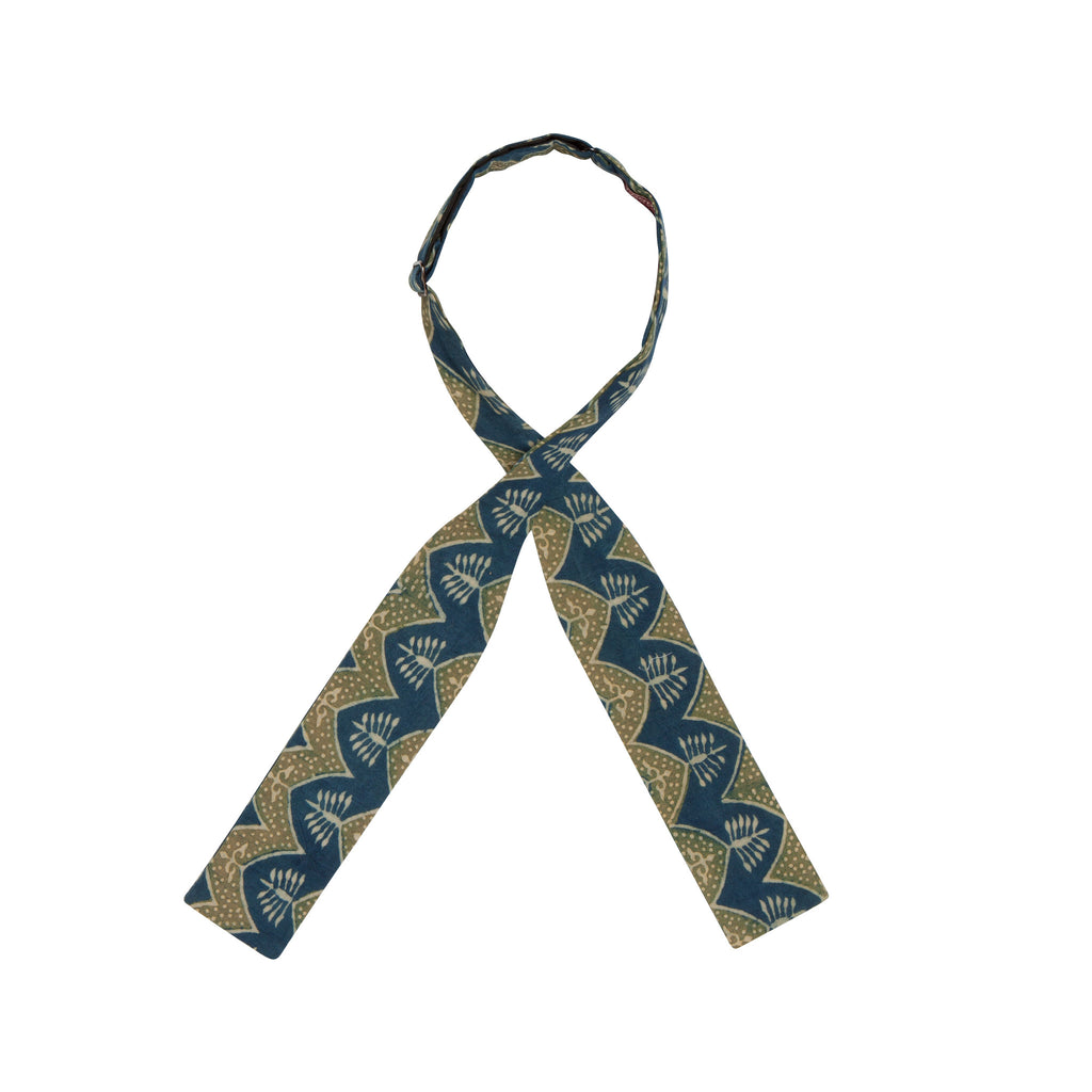 INDIAN HANDBLOCK PRINT BOWTIE: GREEN