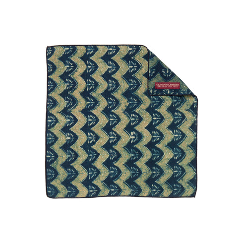 INDIAN HANDBLOCK PRINT POCKET SQUARE: GREEN