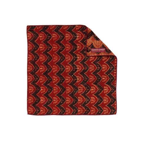 INDIAN HANDBLOCK PRINT POCKET SQUARE: ORANGE