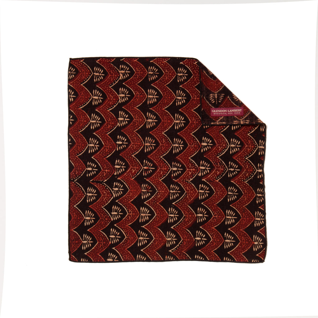 INDIAN HANDBLOCK PRINT POCKET SQUARE: BROWN