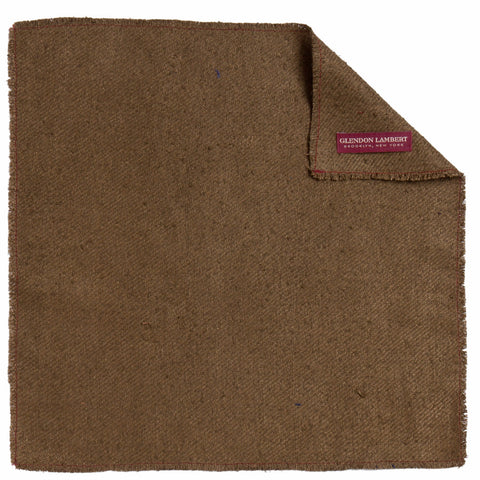 NEAPOLITAN STITCH RAW SILK POCKET SQUARE: ARMY