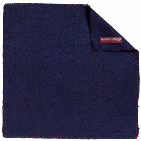NEAPOLITAN STITCH RAW SILK POCKET SQUARE: BLUE