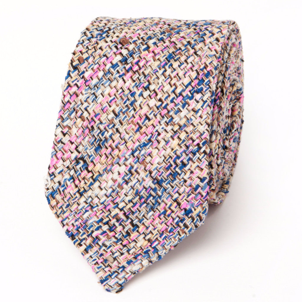 NEAPOLITAN STITCH RAW SILK TWEED: NAVY & PINK
