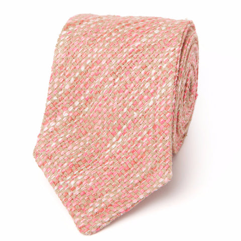 NEAPOLITAN STITCH RAW SILK TWEED: PINK