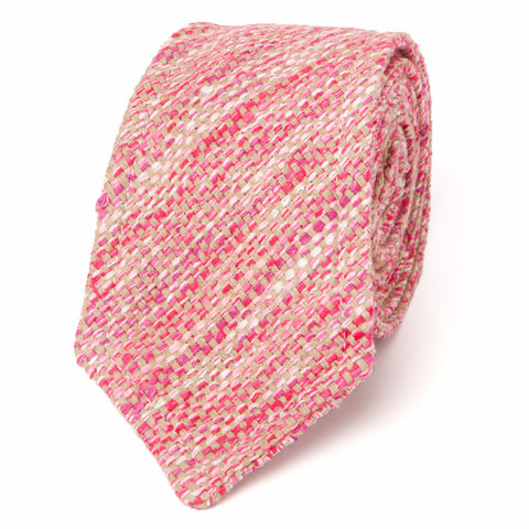 NEAPOLITAN STITCH RAW SILK TWEED: RED, PINK & WHITE