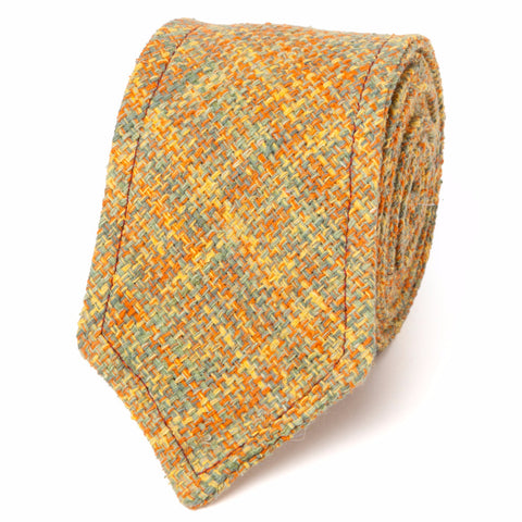 NEAPOLITAN STITCH RAW SILK TWEED: YELLOW