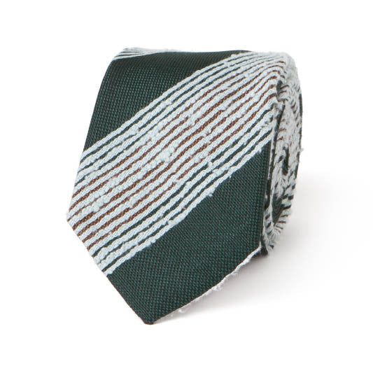 Necktie: Raw Silk Stripes in Hunter Green