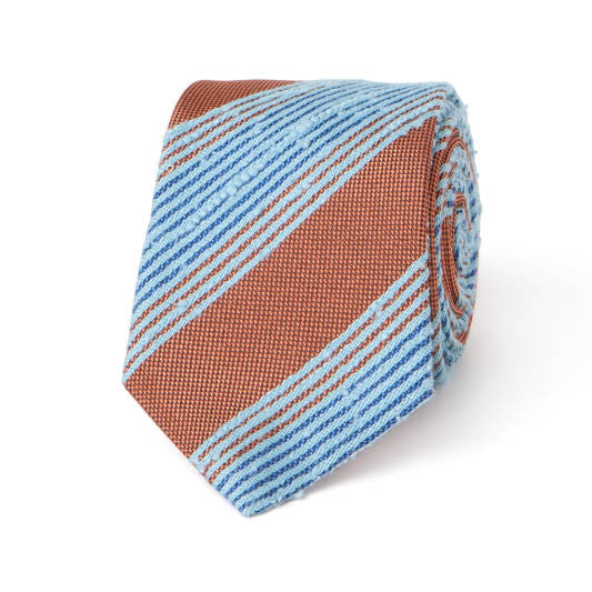 Necktie: Raw Silk Stripes in Orange