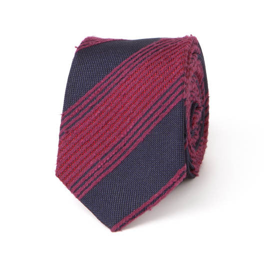 Necktie: Raw Silk Stripes in Navy
