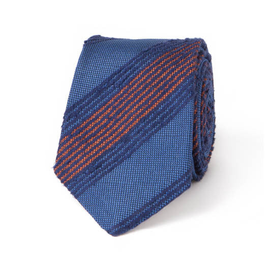 Necktie: Raw Silk Stripes in Royal