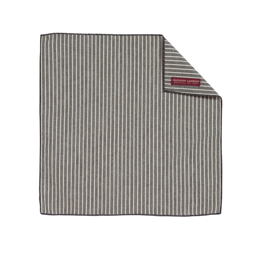 SUCKER STRIPES POCKET SQUARE: SLATE