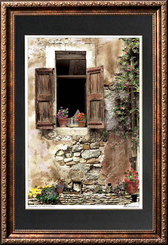 """Bird Cage in the Window"" Signed Matted & Framed"