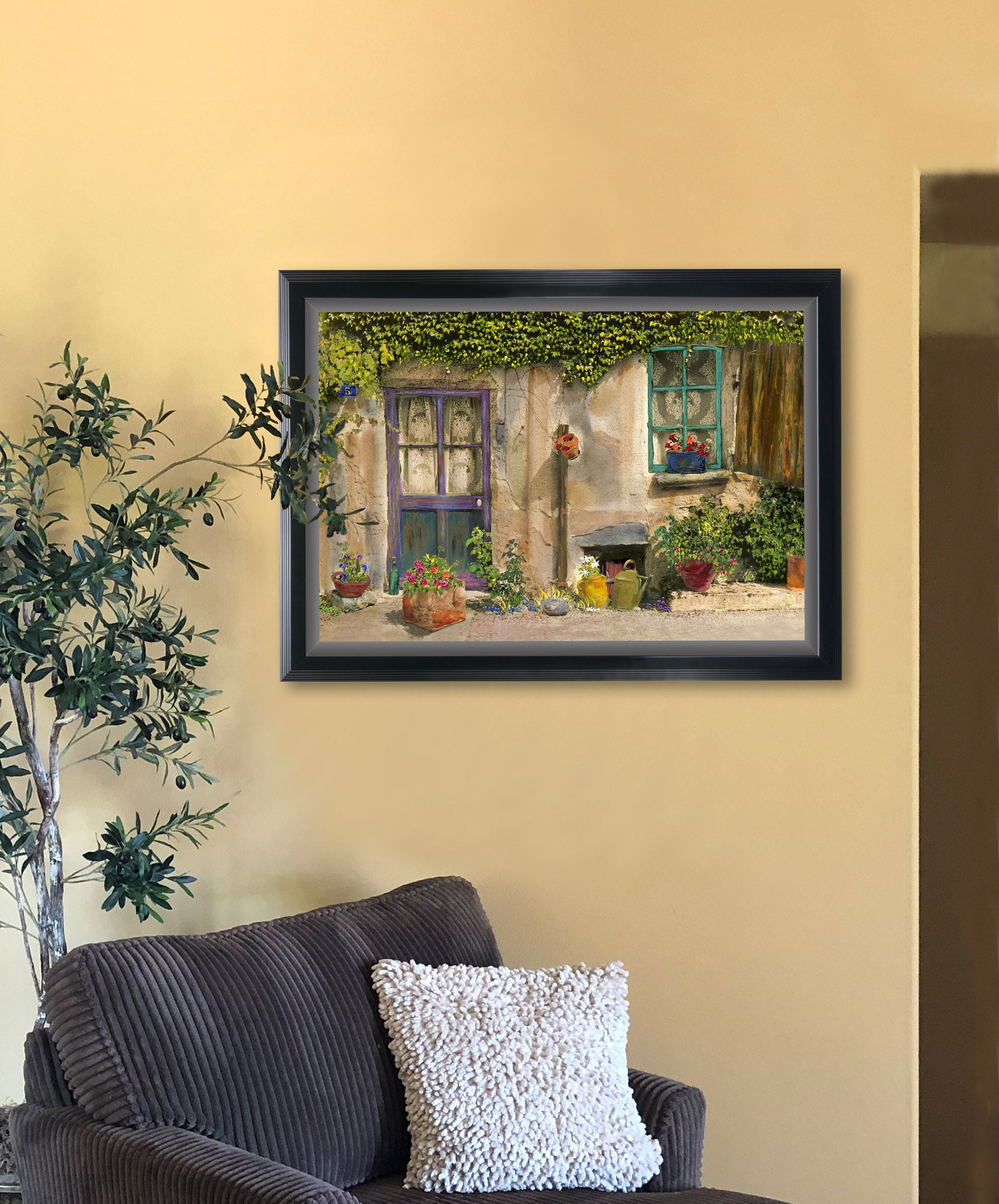 """Claudette's Door and Window"" Premium Large Giclée Print Framed 27 X 37"