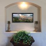 "Load image into Gallery viewer, ""Florence Sunset"" FRAMED CANVAS 13""x 29"" SIGNED"