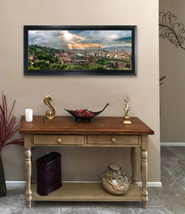 """Florence Sunset"" FRAMED CANVAS 13""x 29"" SIGNED"