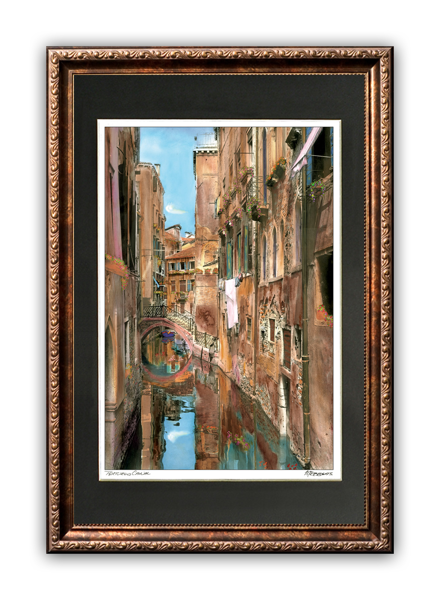 """Textured Canal"" Signed Matted & Framed"