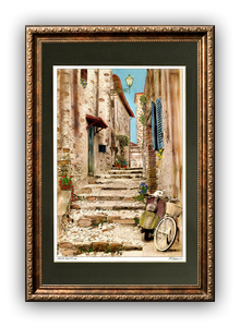 """Vespa and Bike"" Signed Matted & Framed"