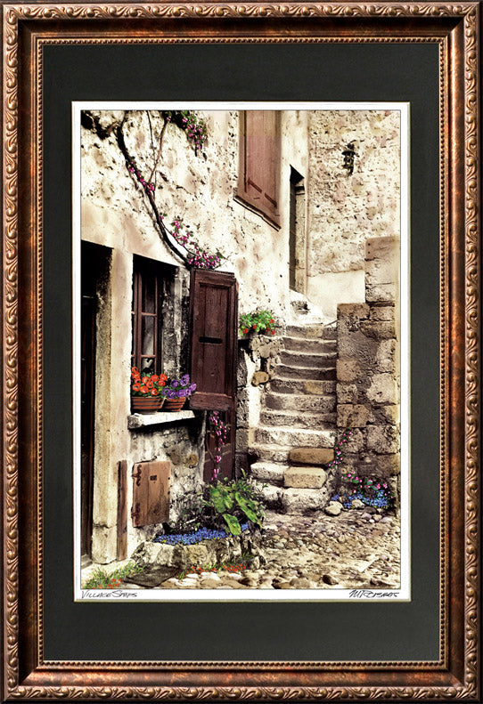 """Village Steps"" Signed Matted & Framed"
