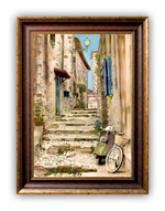 "Load image into Gallery viewer, ""Vespa and Bike"" FRAMED CANVAS ARTIST SIGNED 24""x 32"""