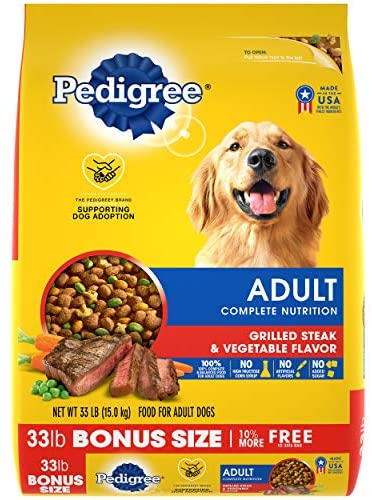PEDIGREE 2 Bags  Complete Nutrition Adult Dry Dog Food Grilled Steak & Vegetable Flavor Dog Kibble, 66 lb. Pet Supplies