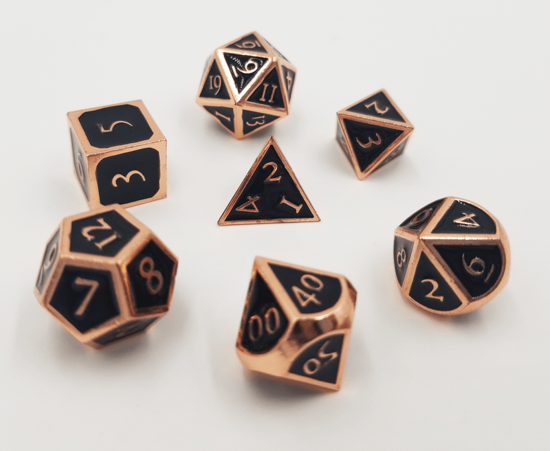 Copper with Onyx RPG Dice Set