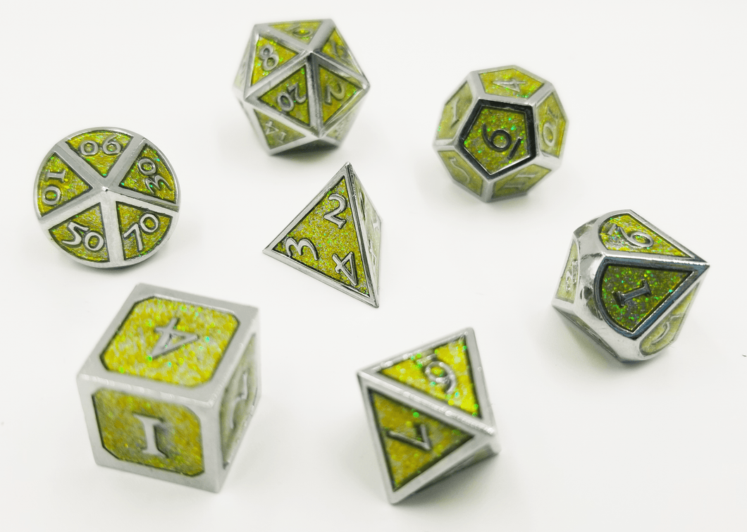 Silver Embossed Green Glitter RPG Set