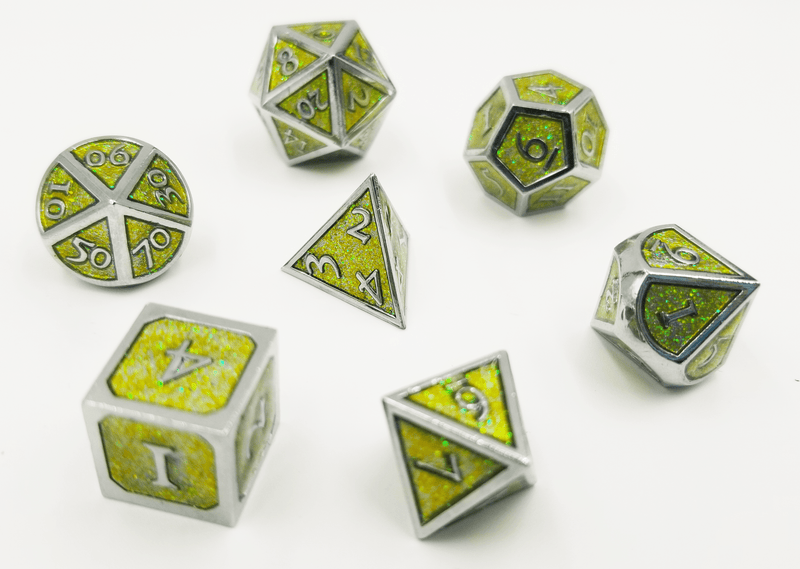 Silver with Jade Glitter RPG Dice Set