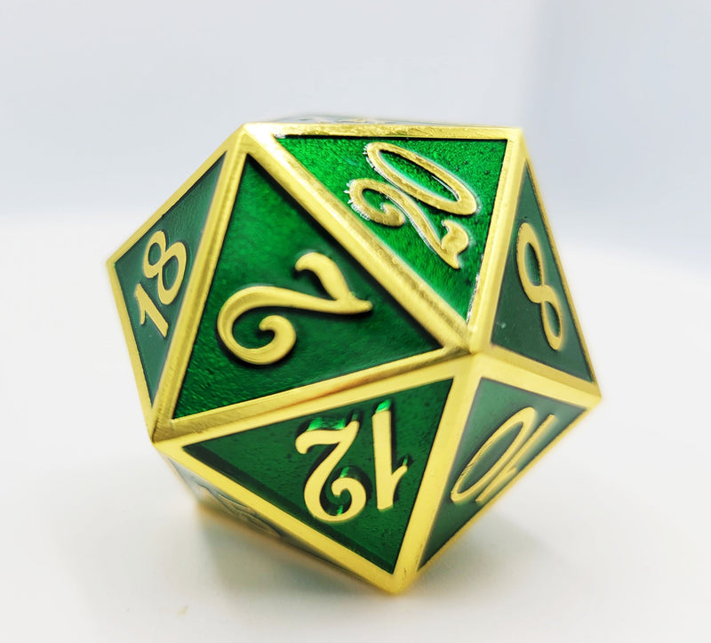 D20 Gold with Emerald - 35mm Extra Large